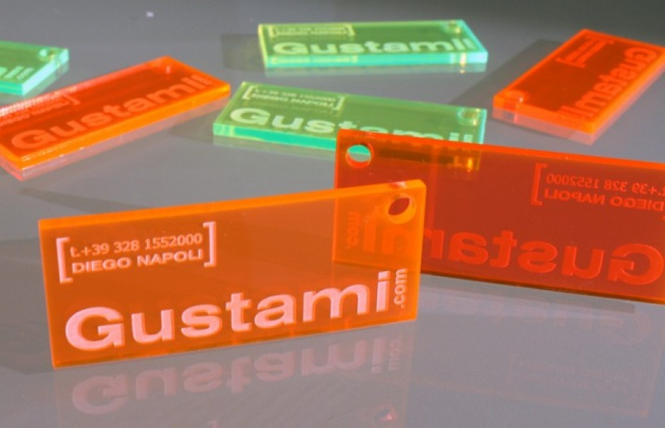 Fluorescent acrylic business cards 1 or 3 mm thickness laser business cards in plexiglass pmma thickness 1 to 3 mm fluorescent colors engraved and perforated this particular type of plexiglass has uv reactive reheart Image collections